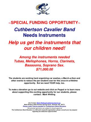 ~SPECIAL FUNDING OPPORTUNITY~ Cuthbertson  Cavalier Band Needs  Instruments