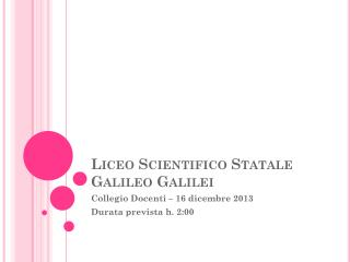 Liceo Scientifico Statale Galileo Galilei