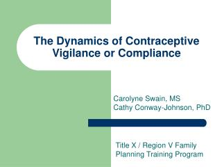 The Dynamics of Contraceptive Vigilance or Compliance
