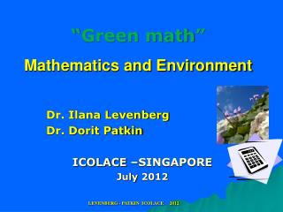"""Green math"" Mathematics and Environment"