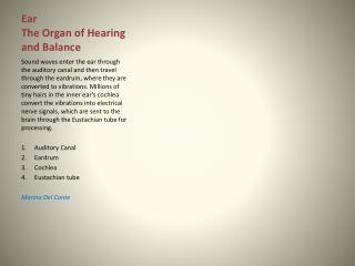Ear The Organ of Hearing and Balance
