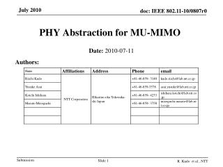PHY Abstraction for MU-MIMO