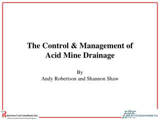The Control & Management of Acid Mine Drainage
