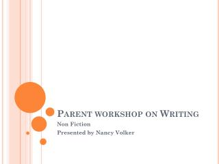 Parent workshop on Writing