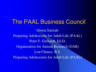 The PAAL Business Council