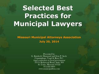Selected Best Practices for Municipal  L awyers