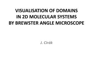 VISUALISATION OF DOMAINS  IN 2D MOLECULAR SYSTEMS  BY  BREWSTER ANGLE MICROSCOPE