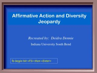 Affirmative Action and Diversity Jeopardy