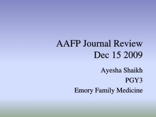 AAFP Journal Review Dec 15 2009