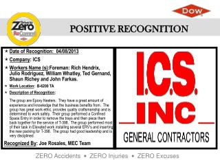 Date of Recognition:   04/08/2013 Company : ICS