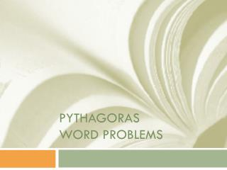 Pythagoras Word Problems