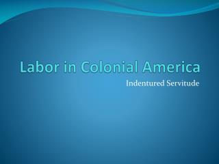 Labor in Colonial America