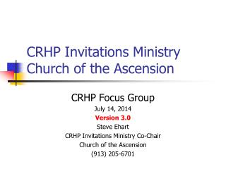 CRHP Invitations Ministry Church of the Ascension