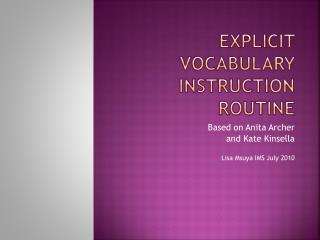 Explicit Vocabulary Instruction Routine