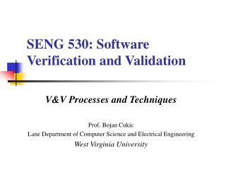 SENG 530: Software Verification and Validation