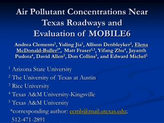 Air Pollutant Concentrations Near Texas Roadways and Evaluation of MOBILE6