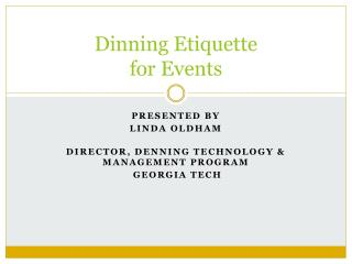 Dinning Etiquette  for Events