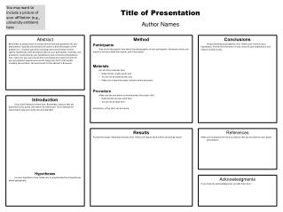 Title of Presentation Author Names