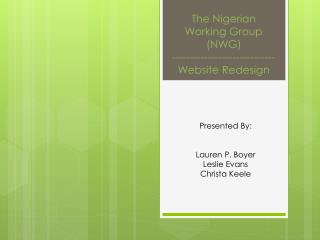 The Nigerian Working Group (NWG)  ----------------------------- Website Redesign