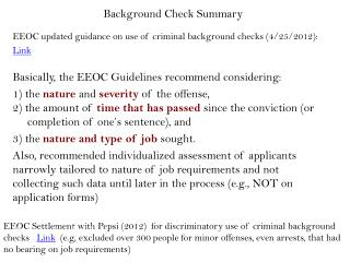 Background Check Summary