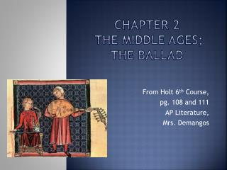 Chapter 2  The Middle ages; the ballad