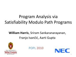 Program Analysis via Satisfiability  Modulo Path Programs