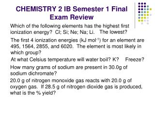 CHEMISTRY 2 IB Semester 1 Final Exam Review