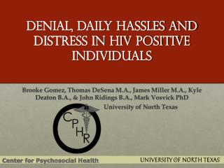 Denial, Daily Hassles and Distress in HIV Positive Individuals