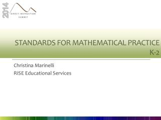 Standards for mathematical practice K-2