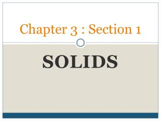 Chapter 3 : Section 1