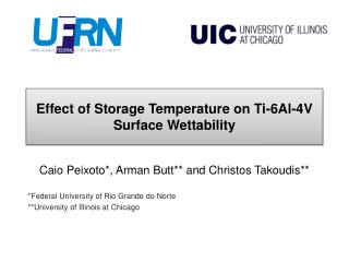 Effect of Storage Temperature on Ti-6Al-4V Surface Wettability