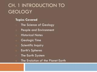 Ch. 1 Introduction to Geology