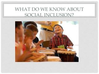 What do we know about  social  inclusion ?
