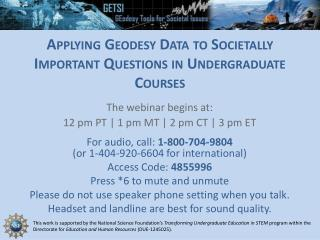 Applying Geodesy Data to Societally Important Questions in Undergraduate  Courses