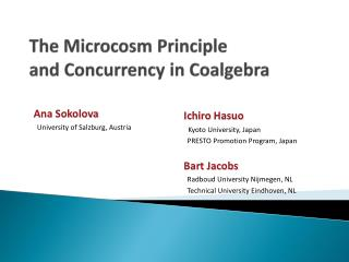 The Microcosm Principle  and Concurrency in  Coalgebra