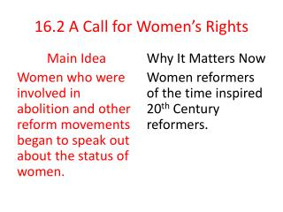 16.2 A Call for Women's Rights