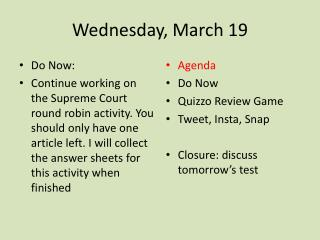 Wednesday, March 19