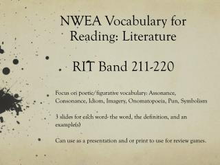 NWEA Vocabulary for  Reading: Literature  RIT Band 211-220