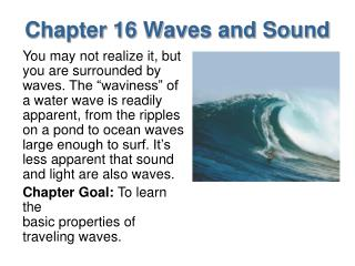 Chapter 16 Waves and Sound