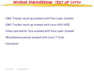 REVERSE ENGINEERING: TEST OF CATIA