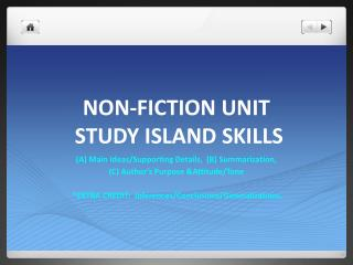 NON-FICTION UNIT  STUDY ISLAND SKILLS