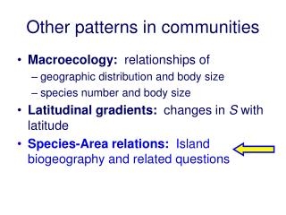 Other patterns in communities