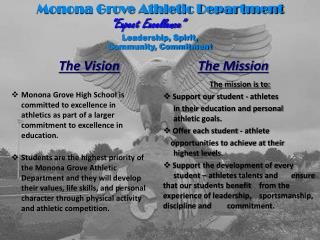 "Monona Grove Athletic Department ""Expect Excellence"" Leadership, Spirit,  Community, Commitment"
