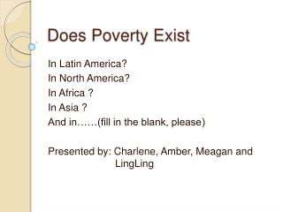 Does Poverty Exist
