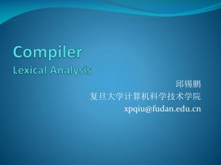 Compiler Lexical Analysis