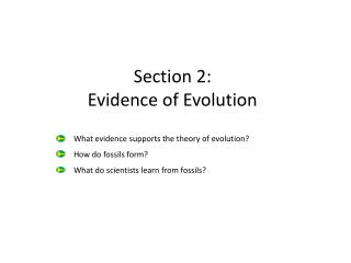 Section 2: Evidence of Evolution