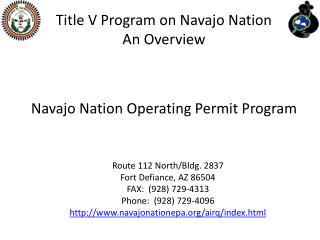 Title V Program on Navajo Nation  An Overview