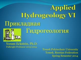 Applied Hydrogeology VI