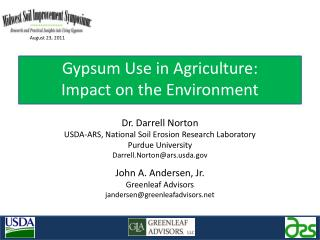 Gypsum Use in Agriculture: Impact on the Environment