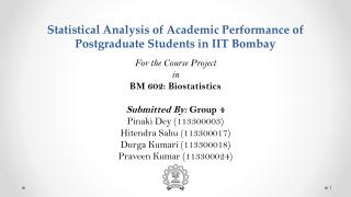 Statistical  Analysis  of Academic Performance of Postgraduate Students in IIT Bombay